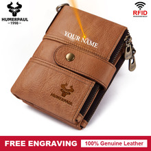 Free Engraving Gift Cow Genuine Leather Men Wallet Name Coin