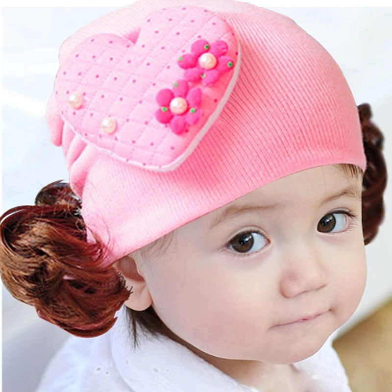 Çocuk şapka bebek erkek aksesuarları bebekler için bebek aşk tatlı kalp toddlers bebek kız kafa bandı saç bandı şapka peruk şapka Jan02