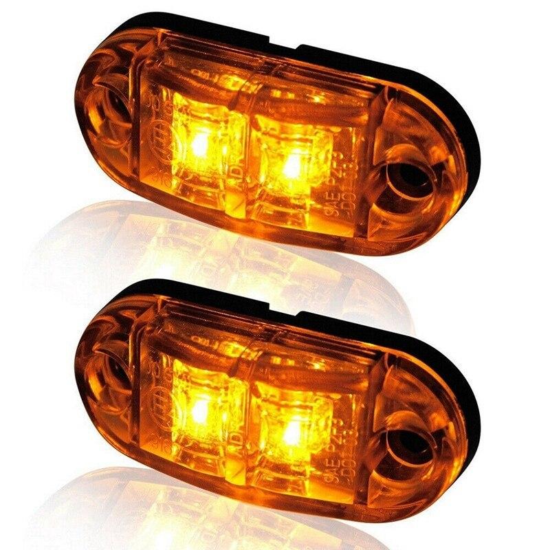 2 шт. Предупреждение светильник светодиодный 2 светодиодный 12V 24V авто автомобиль грузовик с прицепом бортовой светильник Tailligh маркер задний...