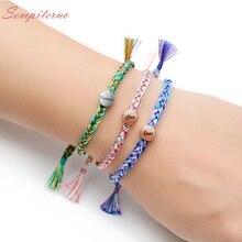 Custom Letter Bracelet Bangle For Women Adjustable 925 Silver Tibetan Thread Rope Bracelets Female Gift Pulseras Mujer