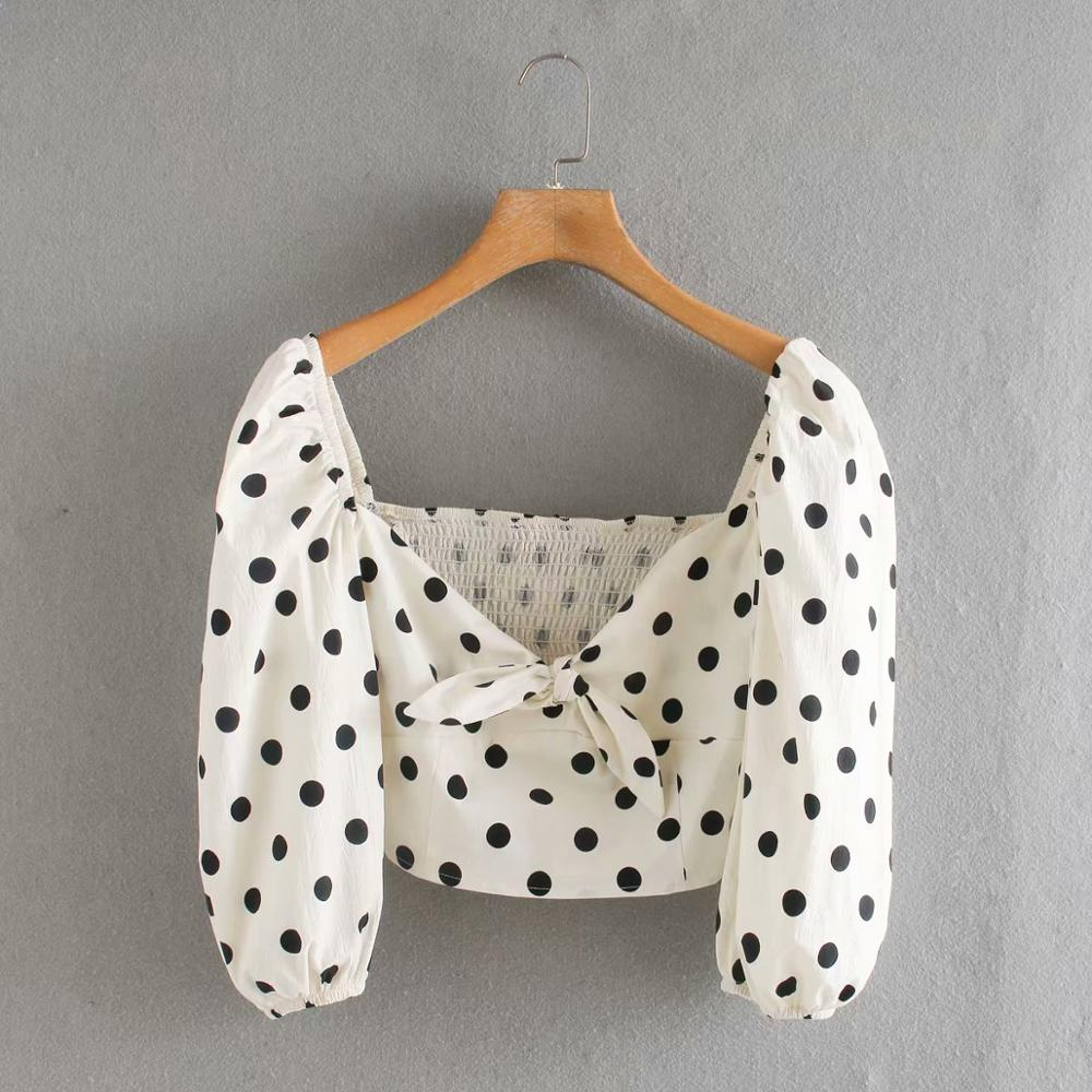 2020 New Fashion Women Polka Dot Print Bow Short Shirt Office Lady Side Zipper Casual Blouses Chic Back Elastic Tops LS6485