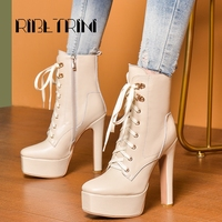RIBETRINI Genuine Leather Boots Square Toe Shoes Woman Platform Boots Chunky High Heels Boots Lace Up Zipper Ankle Boots