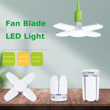 YOYOLUO nueva hoja de ventilador plegable LED luces colgantes sin parpadeo B22 E27 bombilla LED 220V 360 grados ángulo ajustable lámpara de techo