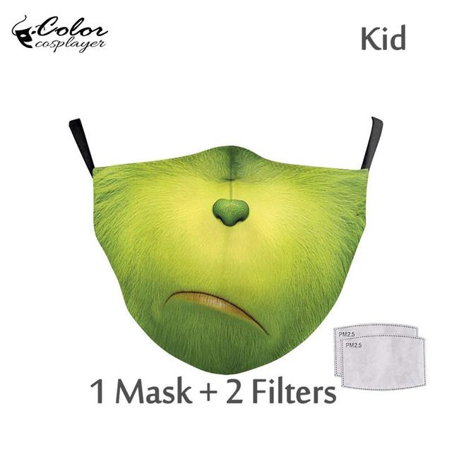 Color Cosplayer Cute Kids Face Fabric Mask Animal Mouth Cosplay Masks Childrens Washable Fabric Mask Mouth Cover 3