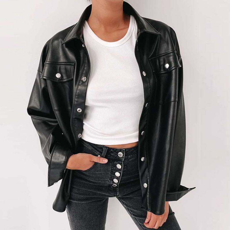 Image 2 - Darlingaga Streetwear Black PU Leather Blouse Women Cardigan Buttons Fashion Womens Shirt Top Long Sleeve Solid Leather BlousesBlouses & Shirts   -