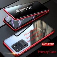 Neue Metall Magnetische Gehärtetem Glas Privatsphäre Telefon Fall für Samsung Galaxy S20 Plus Magnet Schutzhülle Für Samsung S20 Ultra