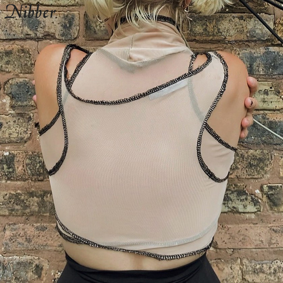 Nibber Sexy Club Mesh See-Through Sleeveless Tank Tee Women Fashion Street Style Off Shoulder Solid Color Crop Top T-Shirt Mujer 6