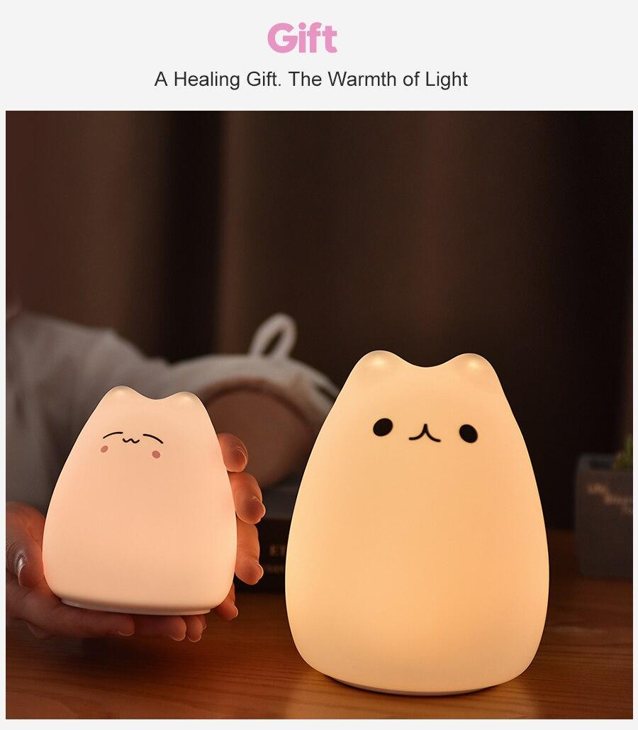 Silicone Touch Sensor LED Cat Night Light For Children