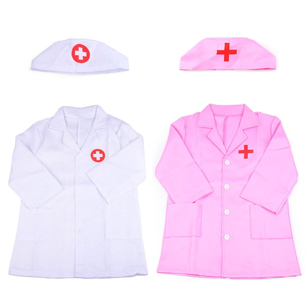 Newest Children's Clothing Role Play Costume Doctor's Overall White Pink Gown Nurse Uniform Educational Doctor Toy For Kids Gift