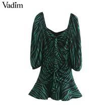Vadim 女性シックなゼブラプリントミニドレス v ネック 3 分袖サイドジッパープリーツ動物パターン野生ドレス QC895