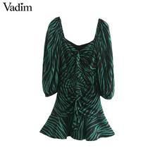 Vadim 여성 세련된 얼룩말 인쇄 미니 드레스 v 목 3 분기 슬리브 사이드 지퍼 pleated 동물 패턴 야생 드레스 qc895