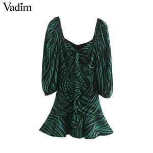 Image 1 - Vadim women chic zebra print mini dress V neck three quarter sleeve side zipper pleated animal pattern wild dresses QC895