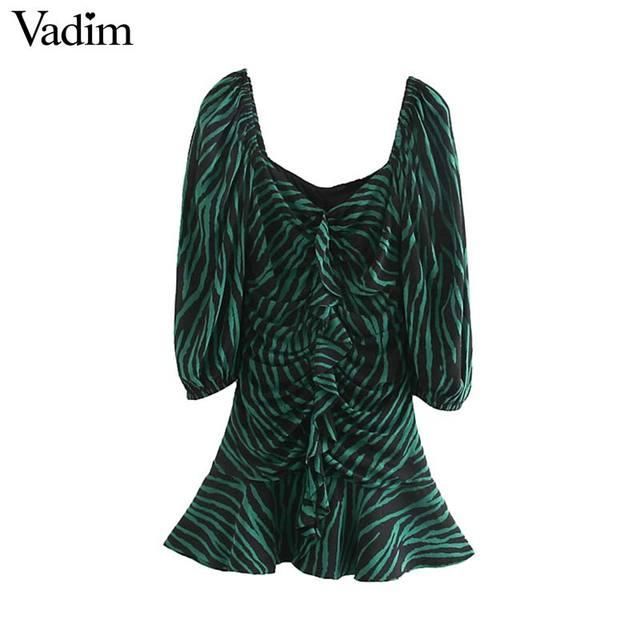 Vadim women chic zebra print mini dress V neck three quarter sleeve side zipper pleated animal pattern wild dresses QC895