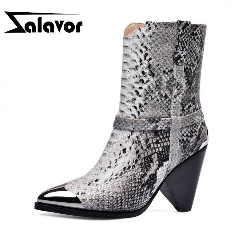 ZALAVOR Real Leather Women Ankle Boots Autumn Winter Warm Pointed Toe High Heels Shoes Fashion Snakeskin Women Shoes Size 33-43