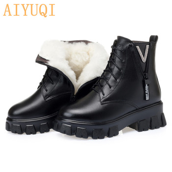 AIYUQI Women Boots Winter 2020 New Genuine Leather Ladies Ankle Boots Large Size 41 42 Warm Wool Women Short Boots aiyuqi winter boots women wool warm 2020 new genuine leather women booties ankle boots thick heel short boots women