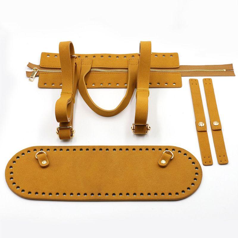 4Pieces/Set DIY Handmade Pouch Crochet Handbag Accessories Artificial Leather Zipper Strip Bag Bottom Shoulder Strap