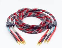 1 par de cobre sem oxigênio alto-falante cabo de áudio hi-fi amplificador alto-falante cabo banana plug cabo