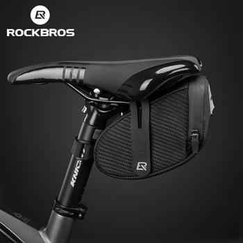 ROCKBROS rowerowa torba pod siodełko 3D Shell odporna na deszcz odblaskowa odporna na wstrząsy rowerowa dętka rowerowa tylny ogon sztyca torba akcesoria rowerowe tanie i dobre opinie CN (pochodzenie) STEEL odporne na deszcz Saddle Bag Reflective Bicycle Bag Shockproof Bag Black About 123G About 19 5*9*9 5cm