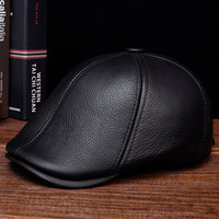 HL110 2019 Nen's real skin leather adult solid adjustable hats caps with 3 colors genuine leather men baseball cap hat
