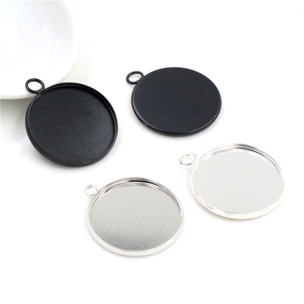 New Arrive 10pcs/lot 25mm Inner Size Silver Plated Rhodium Black High Quality Iron Cameo Settings Cabochon Base Tray Pendant