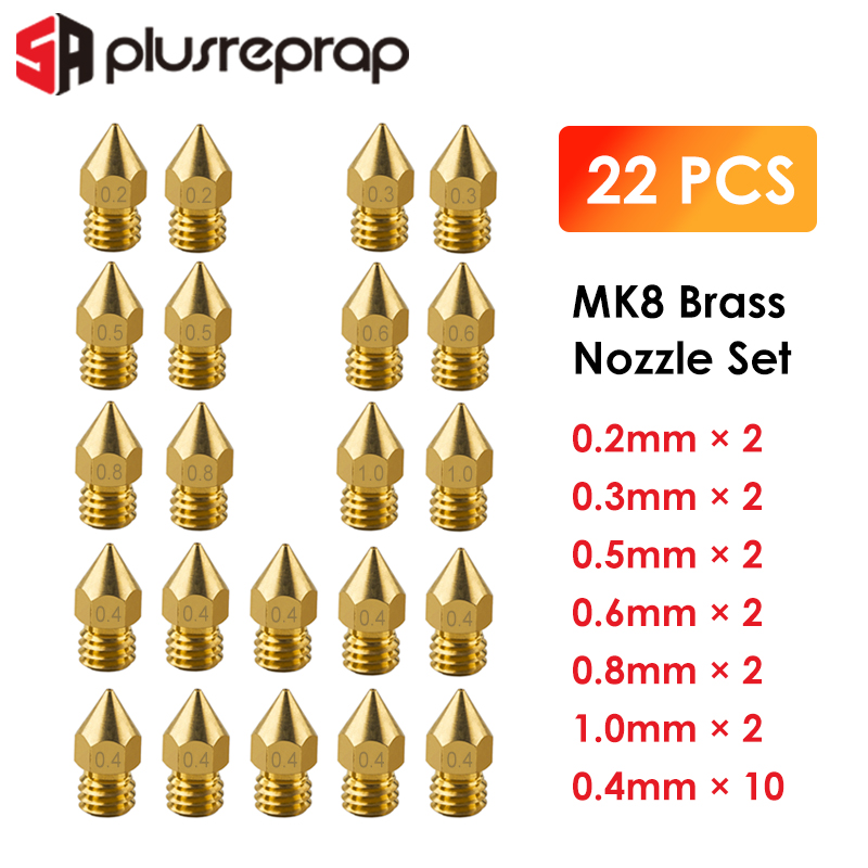 22PCS MK8 Nozzle Head Printer Extruder For1.75mm A8 Makerbot MK8 Creality CR-10 Ender 3 Nozzle Optional  MK8 Makebot 3D Printer