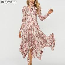 ผู้หญิงแขนยาวไม่สมมาตรสีชมพูชุดฤดูใบไม้ผลิฤดูใบไม้ร่วงแฟชั่นดอกไม้พิมพ์กับSash Vintageไม่สม่ำเสมอVestidoผู้หญิง