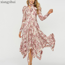 Mulheres de manga longa assimétrica rosa vestido primavera outono moda floral impressão vestido com faixa vintage irregular