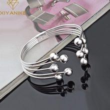 Xiyanike 925スターリングシルバーホットファッション8メートルビーズ腕輪 & 女性のための愛好家古典的なシンプルな手作りジュエリー調節可能な