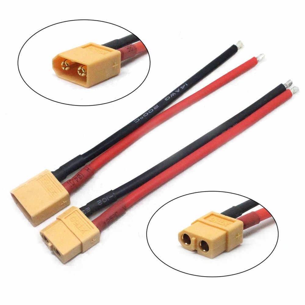 2 uds XT60 batería conector macho hembra Bullet enchufe con silicio 14 AWG Alambre caliente RC batería de conversor a ESC/cargador Accesorios