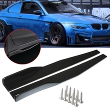 Skirt Wing-Bumper Carbon-Fiber-Look Car-Side Universal Rocker 2pcs Splitter Black