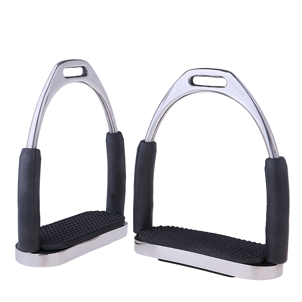 Horse Western Saddle Stirrups, Iron Steel Safety Bendy Horse Riding Equestrian Rubber Treads For Men Women