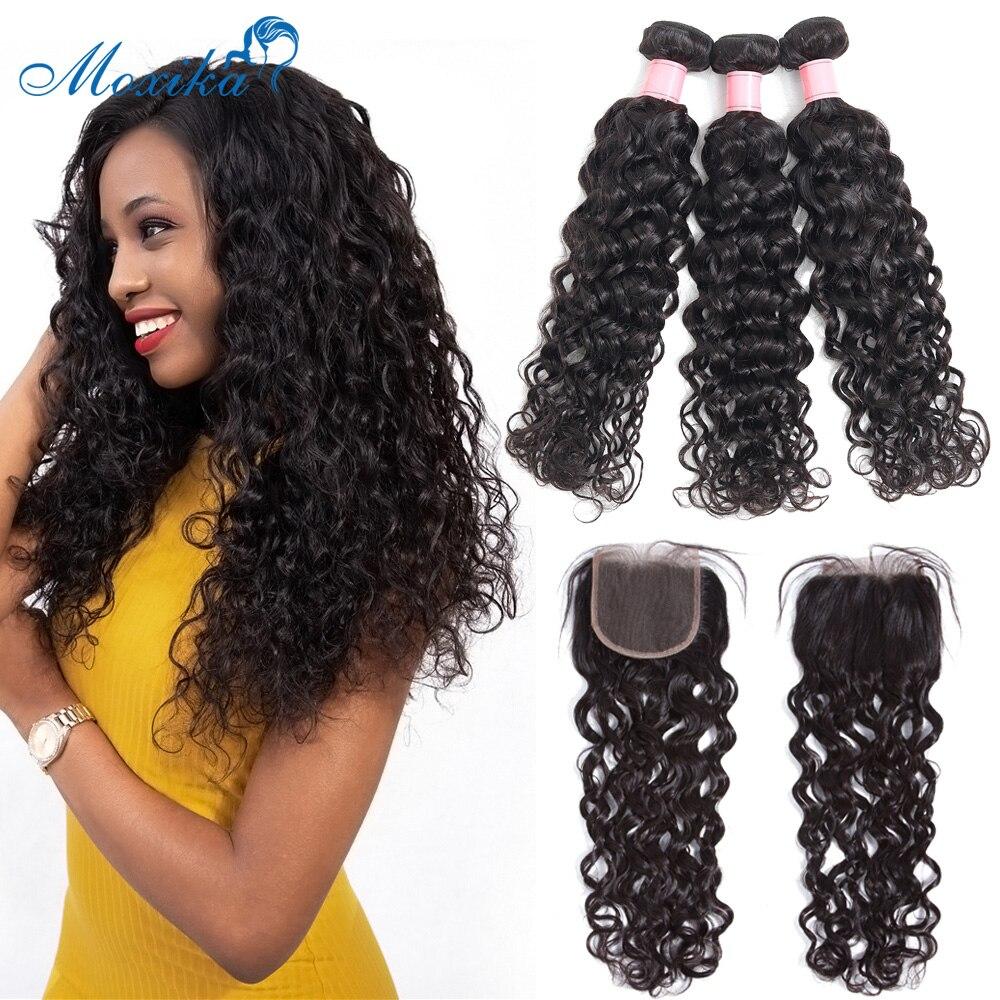 Moxika Water Wave Bundles With Closure 3 Pcs Brazilian Hair Weave Bundles With Closure Remy Human Hair Bundles With Closure
