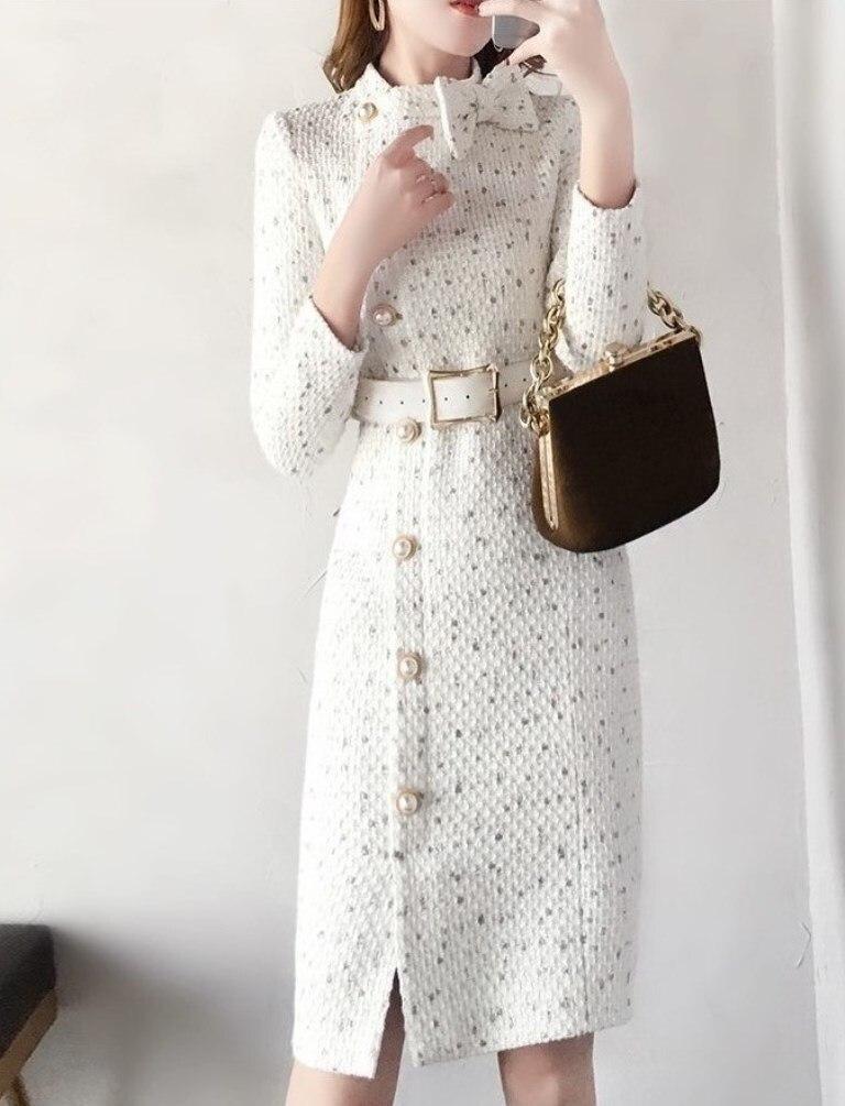 Женское облегающее Хлопковое платье средней длины, Элегантное повседневное Деловое платье с длинными рукавами для офиса на осень и зиму, 2019|Платья|   | АлиЭкспресс