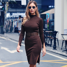 WannaThis Black Elegant Knitted Dresses Women Autumn Mock Neck Skinny Sweater Split Dress Ribbed Bodycon Ladies Winter With Belt