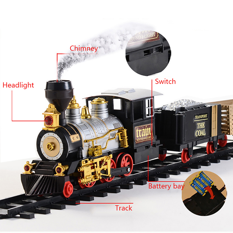 Electric Rechargeable Steam Smoke Train Music Light Track Car Toy Simulation Retro Steam Smoke Train Toys Boys Girls Gifts - 2