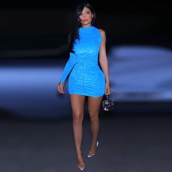 Innovative Kylie jenner Velvet Mini Dress Shiny Light Blue Ruched Long Sleeve One Shoulder Clubwear with Tie in Asymmetric Style