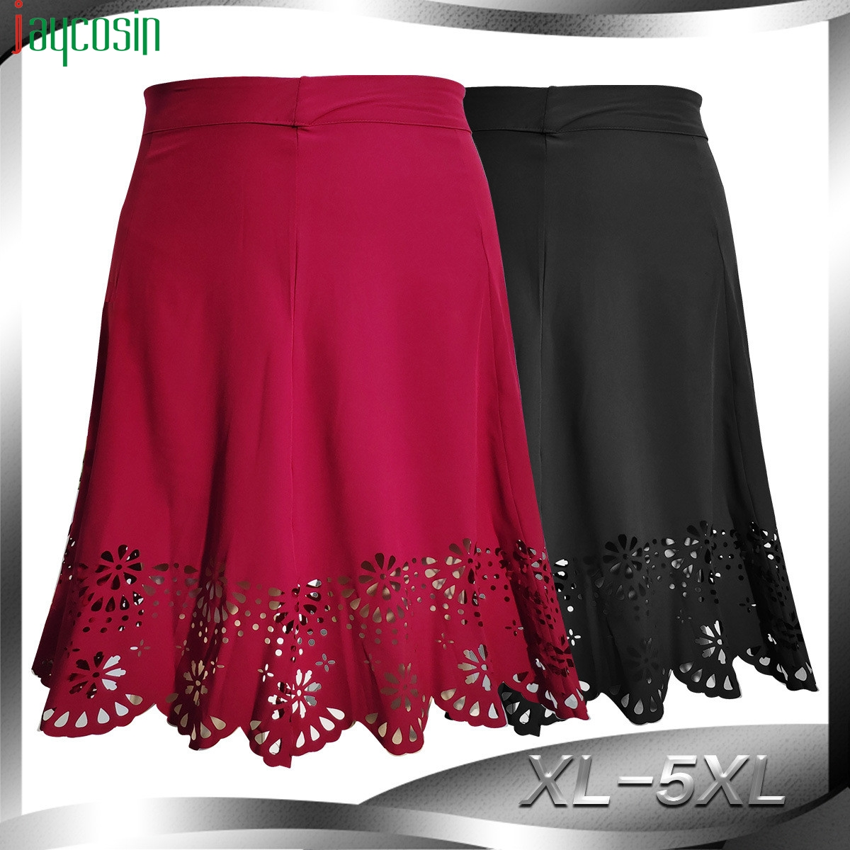 Women Skirt Zipper Lace Hollow High Waist Loose Solid Color Fashion Female Skirt Casual Ladies Plus Size Party Skirt