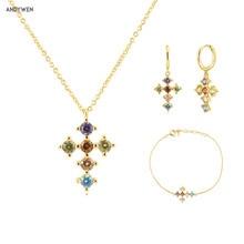 ANDYWEN 925 Sterling Silver Gold Rainbow Cross Zircon CZ Hoops Pendiente Piercing Ohrringe Bracelet Necklace Jewelry