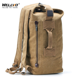 Image 1 - Large Man Travel Bag Mountaineering Backpack Male Luggage Canvas Bucket Shoulder Army Bags For Boys Men Backpacks mochilas XA88C