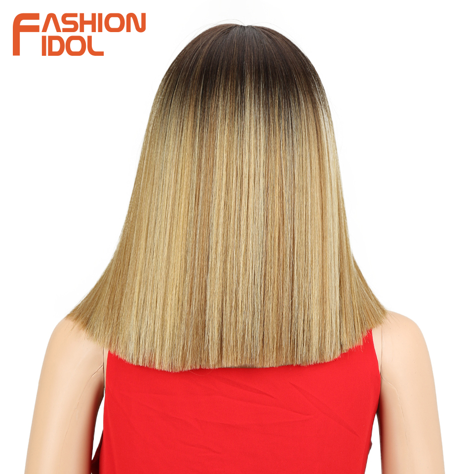 Image 2 - FASHION IDOL Short Bob Wigs For Black Women 14 inch Ombre 613 Blonde Linen Color Neat Fringe Straight Hair Synthetic Wig Cosplay-in Synthetic None-Lace  Wigs from Hair Extensions & Wigs