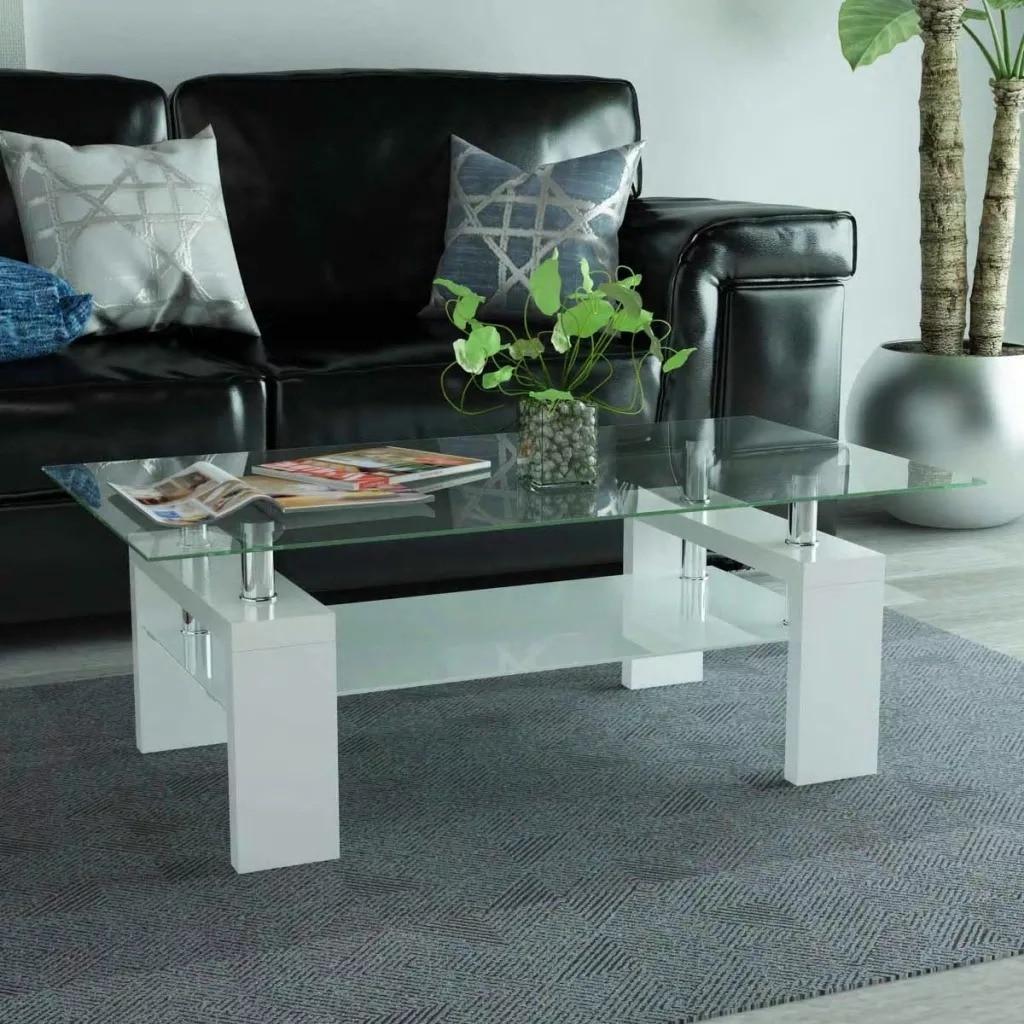 VidaXL High-Gloss Coffee Table With Lower Shelf 110x60x40 Cm White 244150