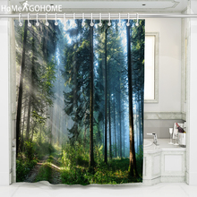 цена на Natural Forest  Large 3D Shower Curtain Cheap Bathroom Curtain Bohemian Bath Curtain Waterproof Fabric Douchegordijn Landschap