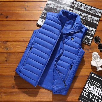 Outdoor Men Electric Heated Vest USB Heating Vest Winter Thermal Polyester Camping Hiking Warm Hunting Jacket фото