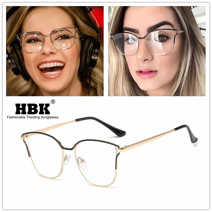 Lunettes optiques pour hommes femmes   Montures de lunettes transparentes, verres unis, mode femme alliage métallique œil de chat, monture oculaire, 2019