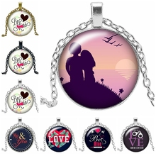 2019 New Valentines Day Gift Necklace Jewelry Pendant Crystal Convex Round Glass Love