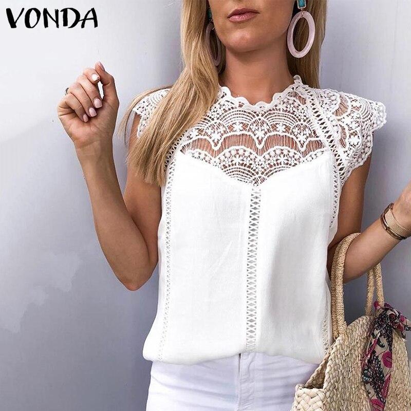 VONDA 2019 Women Blouse Tunic Sexy Sleeveless Lace Shirt OL Office Ladies Shirt Hollow Party Tops Camisas White Blusas Plus Size