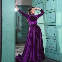 2020 мусульманское вечернее платье с длинным рукавом и высоким