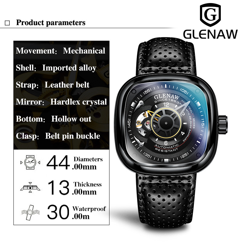 Glenaw Design Brand 2021 Men Hollow Automatic Black Mechanical Watch GMT  Top Brand Reloj Hombre Watches Waterproof 3