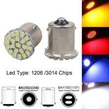 цена на New Car Styling 1156 1157 P21/5W BAY15D 22 SMD 3014 1206 LED Car Auto DRL Tail Side Indicator Lamp Brake Signal Lights COB Bulb