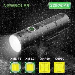 NEWBOLER P90 P50 L2 T6 linterna de bicicleta recargable por USB LED, Faro de bicicleta impermeable, luz de bicicleta frontal, accesorios de lámpara de ciclismo